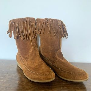 Genuine leather tan moccasins size 6.5